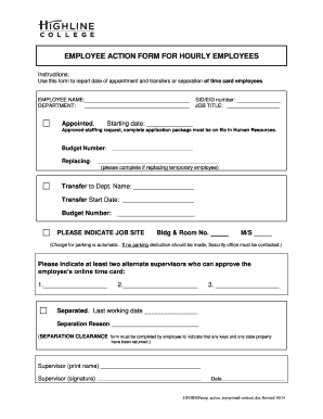 EMPLOYEE ACTION FORM   BHighlineb College
