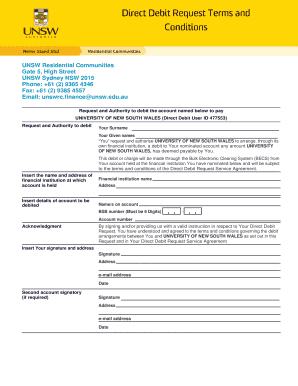 Direct Debit Request Terms and Conditions - Residential Communities