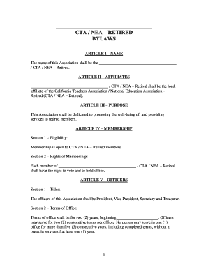 Download The CTA/NEA   Retired Bylaws Template   California .  Bylaw Template