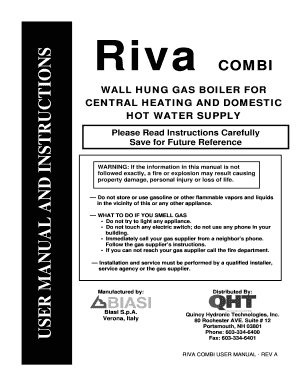 Riva COMBI USER MANUAL AND INSTRUCTIONS