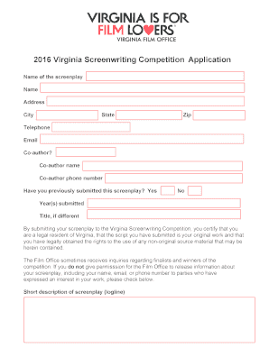 2016 bVirginiab Screenwriting Competition