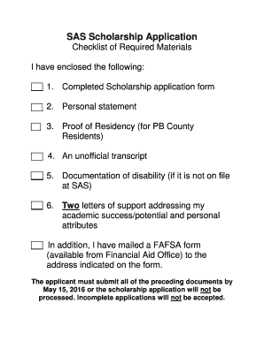 Fillable Online fau SAS Scholarship Application - fau Fax