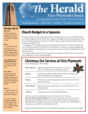 Christmas Eve Services at First-Plymouth Church Budget in a Squeeze