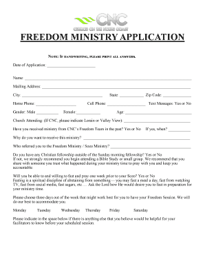 FREEDOM MINISTRY APPLICATION - Church on the North Coast - churchonthenorthcoast