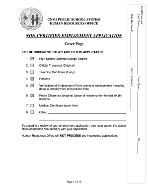 Fillable Online NON-CERTIFIED EMPLOYMENT APPLICATION - CNMI