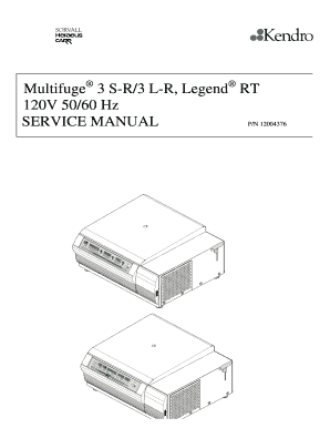 Multifuge 3 S-R3 L-R Legend SERVICE MANUAL PN 12004376