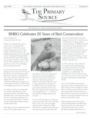 July 2008 Newsletter of the Rocky Mountain Bird Observatory The Primary Source Number 27 Our mission is to conserve birds and their habitats