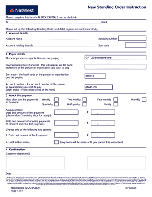 natwest standing order form  Fillable Online britainsbestguides New Standing Order ...