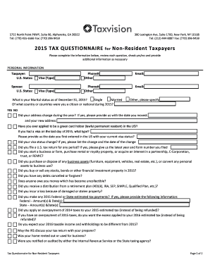 B2015 TAXb QUESTIONNAIRE for Non-Resident Taxpayers - Taxvision