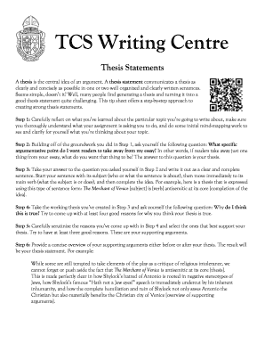 Thesis Statements - Trinity College School - tcs on