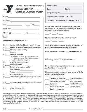 Fillable Online ymcacassclay YMCA Membership Cancellation Form ...