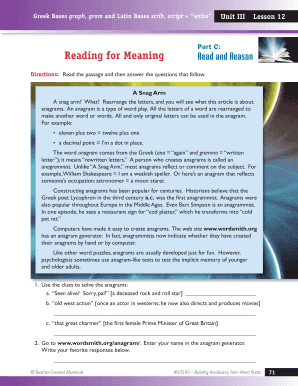 Part C Reading for Meaning Read and Reason