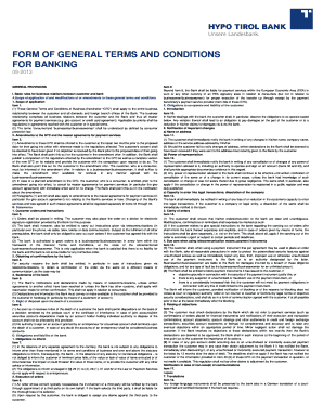 Form of general terms and conditions for banking - Hypo Tirol Bank AG