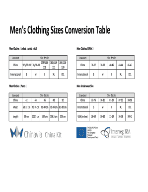 Men S Clothing Sizes Conversion Table
