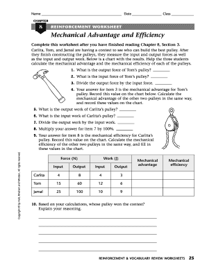 Mechanical Advantage And Efficiency Worksheet - Fill Online ...