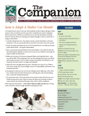 CALenDAR June is Adopt A Shelter Cat Month! - Friends Forever ...