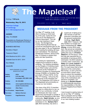 A PUBLICATION OF THE MAPLEWOOD CITIZENS ASSOCIATION (MCA)