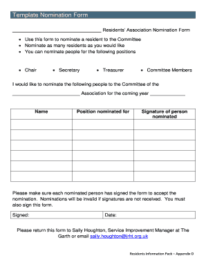 committee nomination form template fill out online forms templates download in word pdf. Black Bedroom Furniture Sets. Home Design Ideas