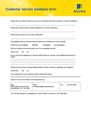 Fillable Online Customer service feedback form - Aviva
