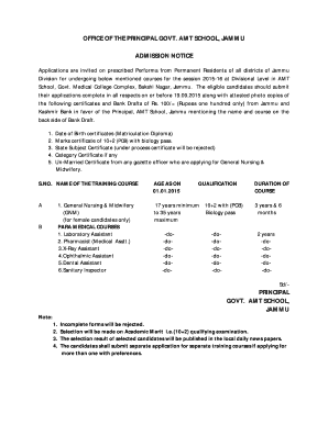 Amt School Jammu Fill Online Printable Fillable Blank Pdffiller