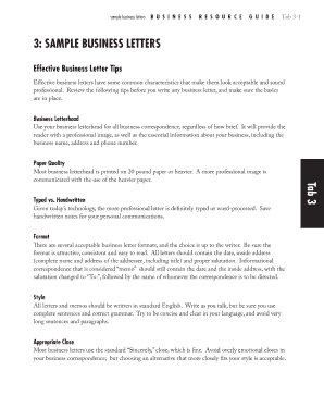 Tab 3 3: SamplE BUSINESS lETTERS - NxLeveL