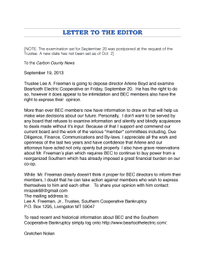 Letter to the editor - Beartooth Electric Cooperative