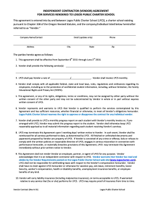 INDEPENDENT CONTRACTOR VENDOR AGREEMENT FOR SERVICES