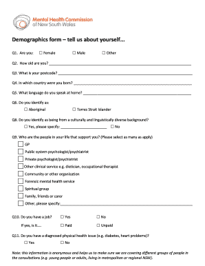 Fillable Online Demographics form tell us about yourself Fax Email ...