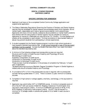 ubc dental hygiene program supplemental application
