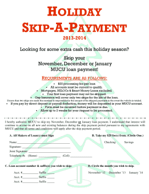 Holiday skip payment - Members United Credit Union - membersunitedcreditunion