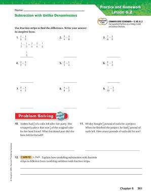 Subtraction With Unlike Denominators Lesson 6 2 - Fill ...