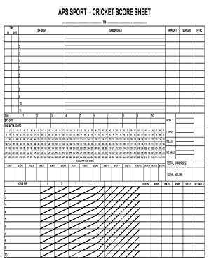 Cricket Score Sheet | Fillable Online Aps Sport Cricket Score Sheet Fax Email Print