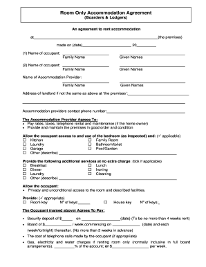 Printable room rental agreement template edit fill out room only accommodation agreement boarders lodgers platinumwayz