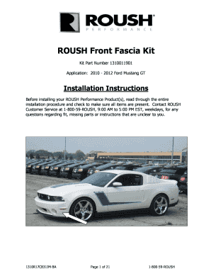 Fillable Online 03905 Mustang Front Fascia Kit - Roush