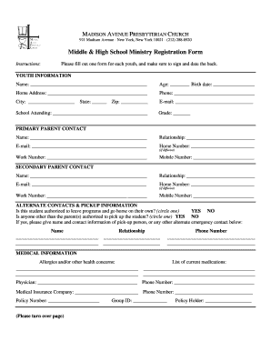 Middle High School Ministry Registration Form - MAPC