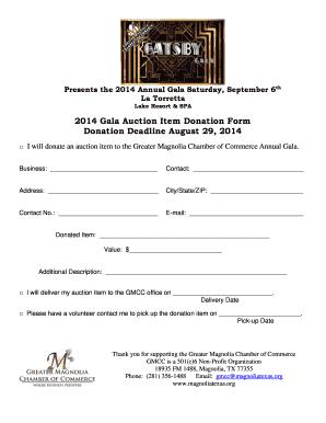 Editable donation form template for non profit fillable 2014 gala auction item donation form donation deadline altavistaventures Choice Image