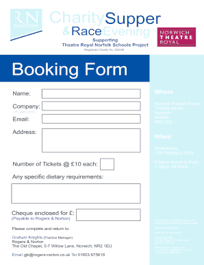 Theatre Royal Norfolk Schools Project Booking Form