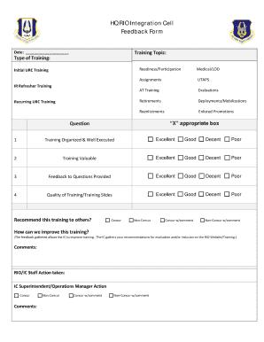 Fillable Online Arpc Afrc Af Hq Rio Integration Cell Feedback Form