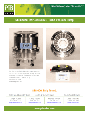 Fillable Online Shimadzu TMP-3403LMC Turbo Vacuum Pump - PTB Sales