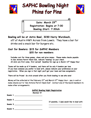 Date March 29th Registration Begins at 700 Bowling