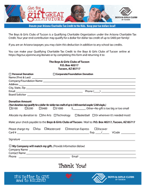 Gift of Giving Donation Form - Kids Charity Tucson - bgctucson
