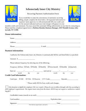Recurring Donation Form - Schenectady Inner City Ministry - sicm