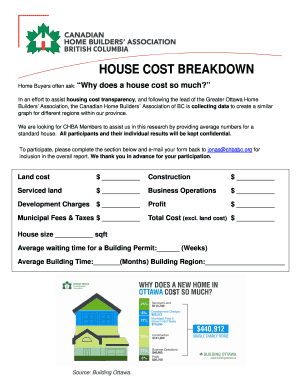 Home construction cost breakdown to Download in Word & PDF