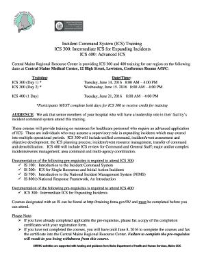 Fillable Online cmrrc ICS 300 & 400 - Central Maine Regional