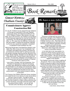 Fall 2009 Newsletter WORD Format   Chatham Community Library  Newsletter Format