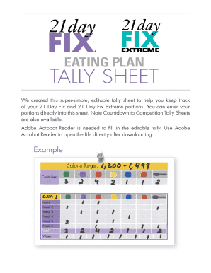 graphic regarding 21 Day Fix Tally Sheets Printable titled Fillable On-line Feeding on Method TALLY SHEET - Staff Beachbody