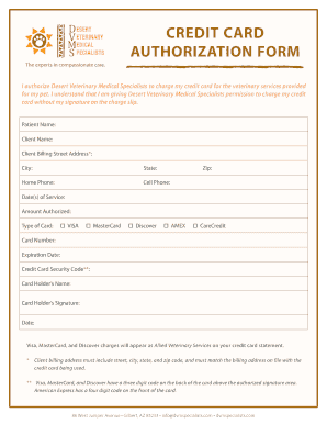 Fillable Online Credit card bauthorizationb form - Desert Veterinary on veterinary record forms, veterinary new client form template, veterinary paperwork forms, veterinary release form, veterinary patient history form, veterinary surgical consent form,
