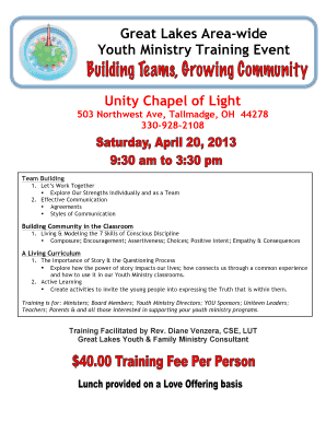 Fillable Online Unity Chapel of Light Fax Email Print