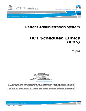 HC1 Scheduled Clinics - Training.iphis.nhs.uk - NHS IPHIS ICT ... - training iphis nhs