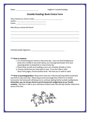 Outside Reading Book Choice Form - Bethpage Union Free